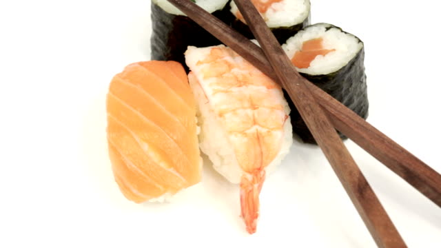Sushi with chopsticks video