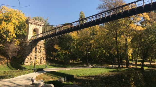 подвесной мост к осени в городе крайово - дубовый лес стоковые видео и кадры b-roll