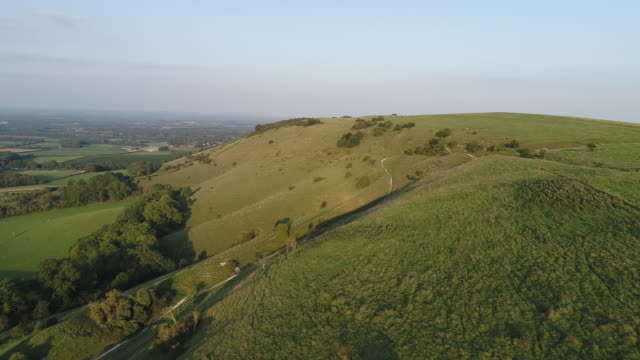 sussex south downs aerial view near ditchling beacon - england stock videos & royalty-free footage