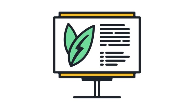 Sustainability Reporting‎ Flat Line Icon Animation with Alpha