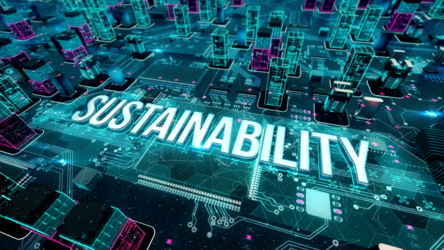 sustainability with digital technology concept - risorse sostenibili video stock e b–roll