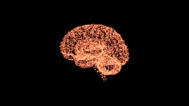 Sustainable development goals concept. 4k video of green illuminating brain over black background.