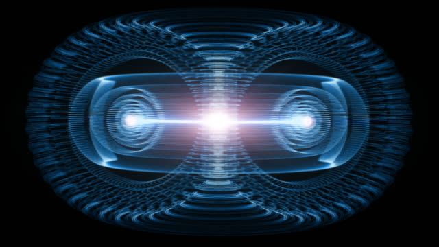 sustainable high particle energy flow through a tokamak or doughnut-shaped device. antigravity, magnetic field, nuclear fusion, gravitational waves and spacetime concept - atomo video stock e b–roll