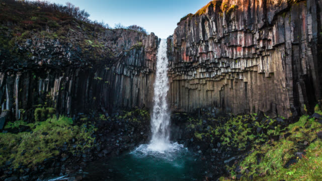 Svartifoss Waterfall in Iceland - Slow Motion video
