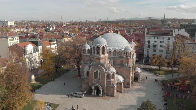 sveti sedmochislenitsi kyrka i sofia, bulgarien - flygfoto 4k - bulgarien bildbanksvideor och videomaterial från bakom kulisserna