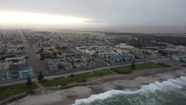 Swakopmund City, Namibia, Skeleton Coast A view of Swakopmund City from right to left and then over the sea. Namibia. Skeleton Coast. swakopmund stock videos & royalty-free footage