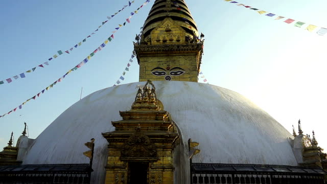 Swayambhunath Stupa - the holiest stupa of tibetan buddhism (vajrayana). Kathmandu, Nepal video