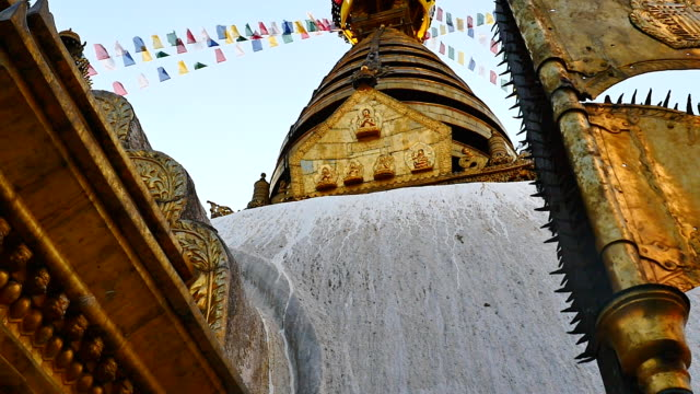 Swayambhunath Stupa with blue sky in Kathmandu, Nepal video