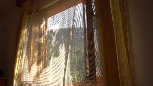 vídeos de stock e filmes b-roll de swaying curtain on a window at summer time - oscilar