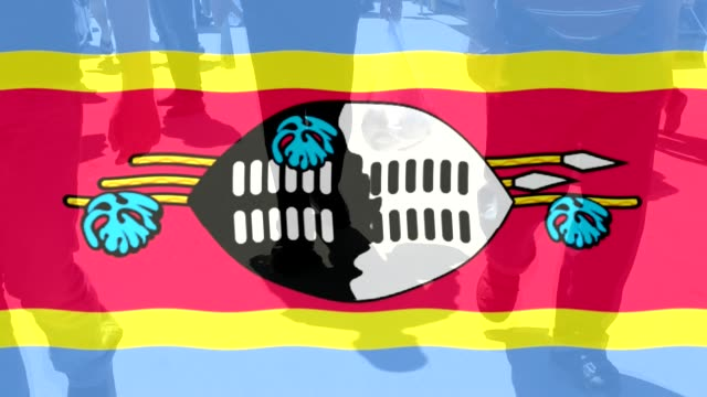Swaziland Flag and people walking as a background video