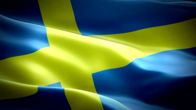 sweden flag video waving in wind. realistic swedish flag background. sweden flag looping closeup 1080p full hd 1920x1080 footage. sweden eu european country flags footage video for film,news - summer background filmów i materiałów b-roll