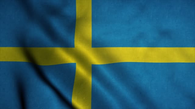 sweden flag waving in the wind. national flag of sweden. sign of sweden seamless loop animation. 4k - banner internetowy filmów i materiałów b-roll