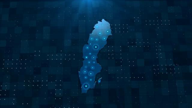 4k sweden karta länkar med fullständiga bakgrundsdetaljer - sweden map bildbanksvideor och videomaterial från bakom kulisserna