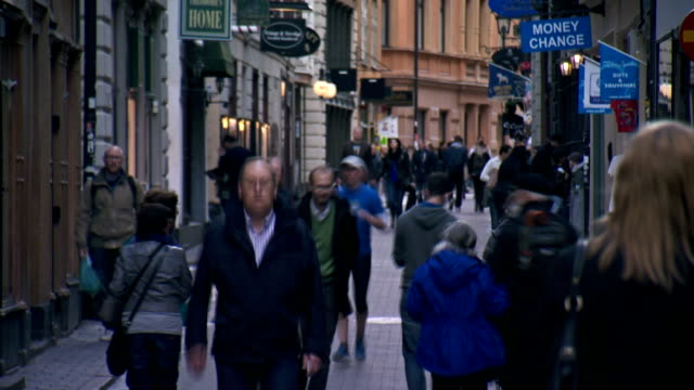Sweden Stockholm city street people time lapse video