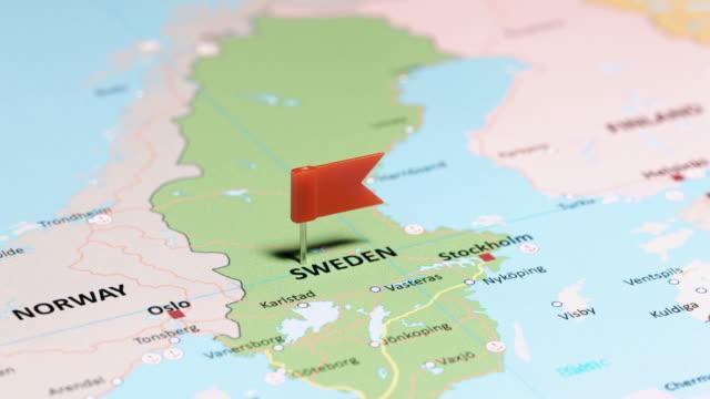 sverige med pin - sweden map bildbanksvideor och videomaterial från bakom kulisserna