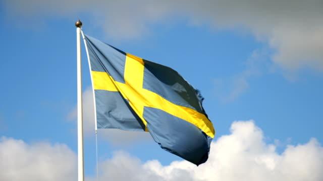 vidéos et rushes de drapeau suédois dans le vent - suede