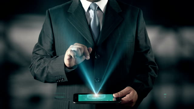 Swedish Language Choose Businessman using digital tablet technology futuristic background video
