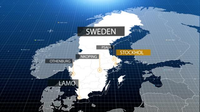 svenska karta med etiketten sedan med ut etikett - sweden map bildbanksvideor och videomaterial från bakom kulisserna