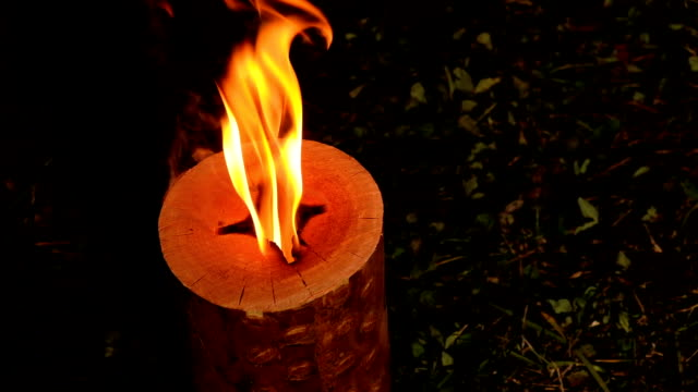 Swedish Or Finnish Log Candle. Fire Burning From Inside The Wooden Log Swedish Or Finnish Log Candle. Fire Burning From Inside The Wooden Log {{asset.href}} stock videos & royalty-free footage