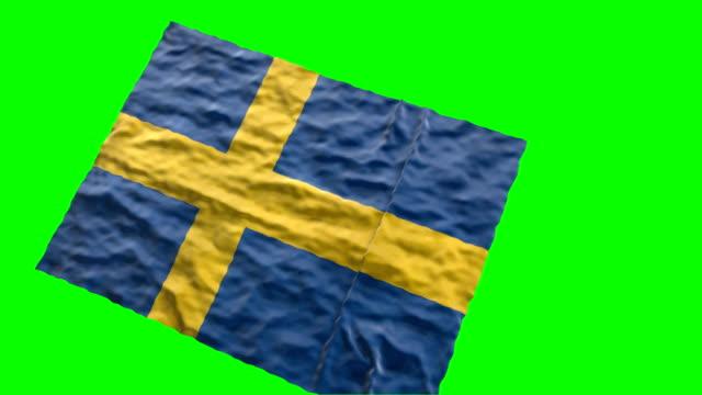 Swedish stadium flag. Waving on green screen video
