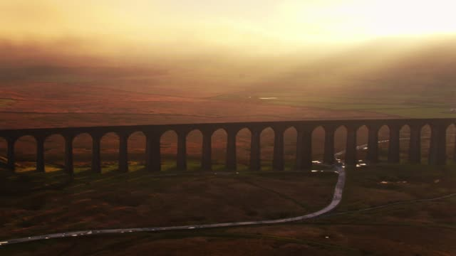 Sweeping Drone Shot of the Ribblehead Viaduct, North Yorkshire
