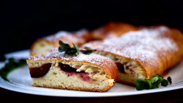 sweet baked homemade plum cake with icing sugar video