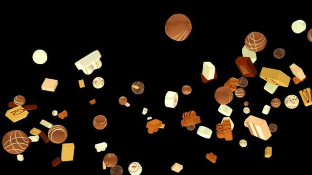 vídeos de stock e filmes b-roll de sweet bonbons flying in slow motion, alpha channel - comida pronta