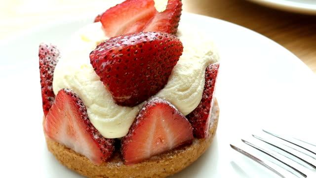 sweet dessert with strawberry tart - desserts stock videos and b-roll footage