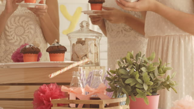 Sweet table with party food and drinks video