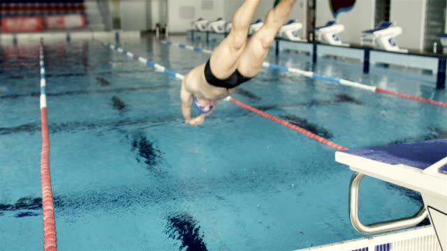 Swimmer Jumping Into The Water video