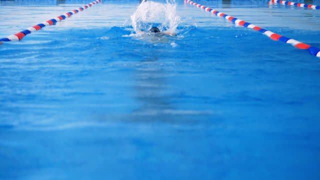 vídeos de stock e filmes b-roll de a swimmer moves away from camera in a perfect butterfly style. - swim arms
