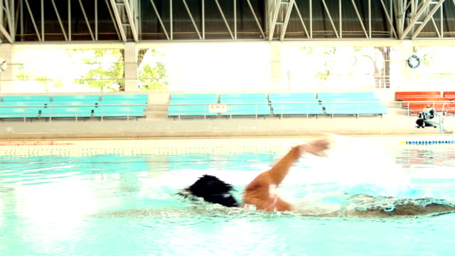 Swimmer practice freestyle video