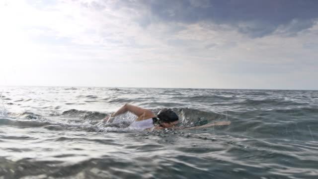 vídeos de stock e filmes b-roll de ts swimmer swimming front crawl - swim arms