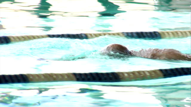 Swimmer swims in a pool video