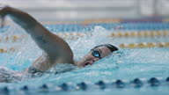 istock Swimmer training front crawl and taking deep breaths - camera follows 1286680037