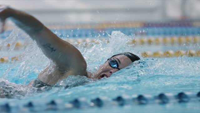 vídeos de stock, filmes e b-roll de natação treinando frente rastejar e respirar fundo - câmera segue - esporte