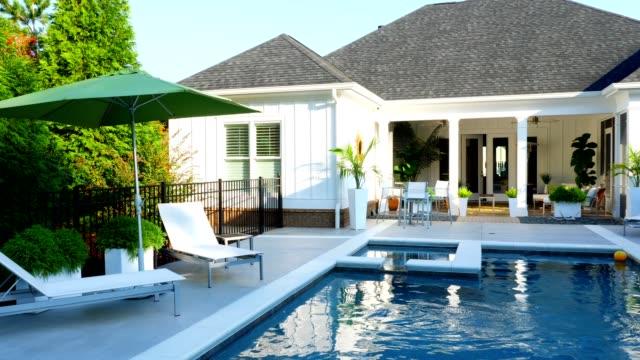 stockvideo's en b-roll-footage met zwembad - garden house