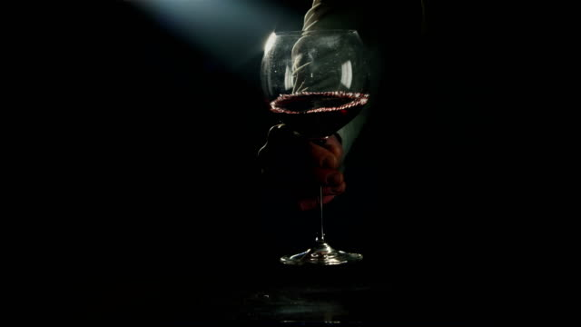 Swirling red wine in large burgundy glass video