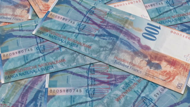 Swiss currency of 100 francs money video
