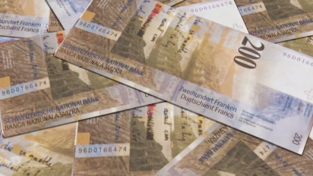 Swiss currency of 200 francs money video