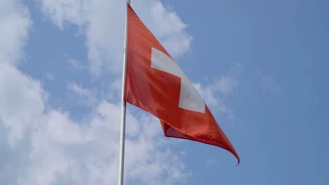 Swiss Flag with blue sky