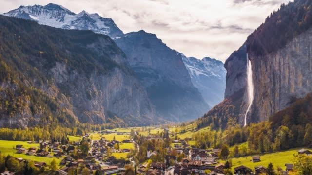swiss mountain village lauterbrunnen switzerland aerial 4k - szwajcaria filmów i materiałów b-roll
