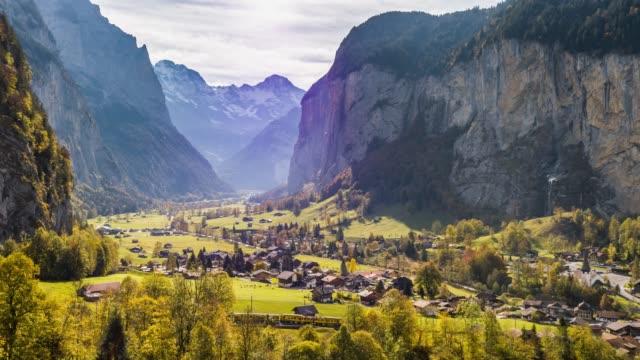 Swiss Village Lauterbrunnen Switzerland Aerial 4k