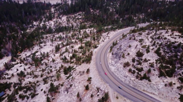 Switchbacking Highway in California Sierra Nevada - Aerial View video