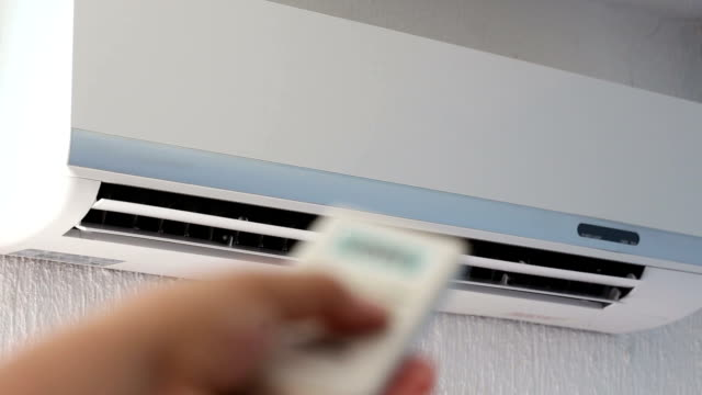 Switching off  air conditioner Switching off Split-system air conditioner doing the splits stock videos & royalty-free footage