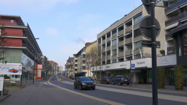 switzerland adliswil city traffic street day time panorama 4k video