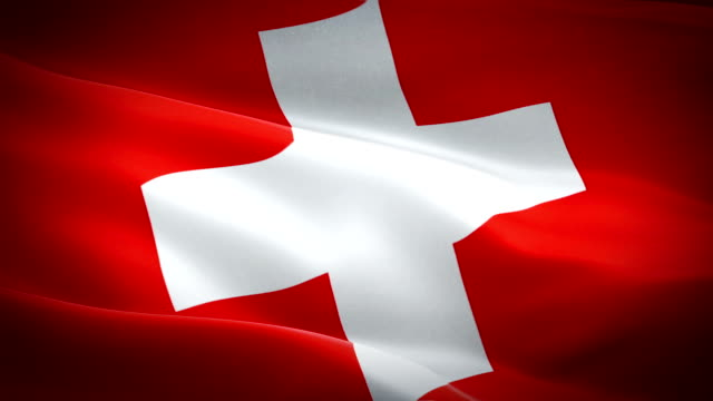 Switzerland Flag Wave Loop waving in wind. Realistic Swiss Flag background. Switzerland Flag Looping Closeup 1080p Full HD 1920X1080 footage. Switzerland EU European country flags/ Other HD flags available