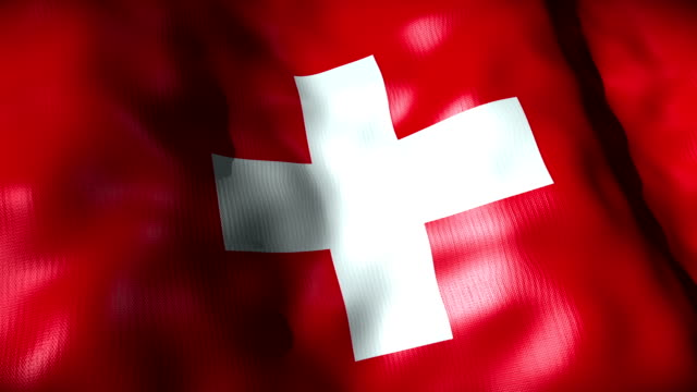 Switzerland Flag waving, looping video