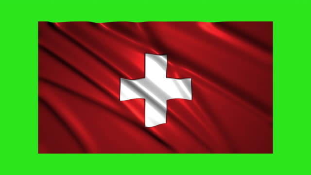 Switzerland flag waving,loopable on green screen video