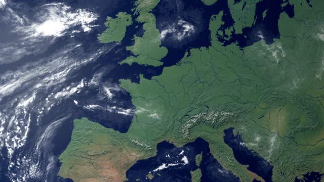 switzerland pops up after earth zoom (with alpha matte) - mountain top stok videoları ve detay görüntü çekimi